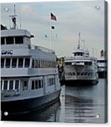 Boston Harbor Cruise Three In A Row Acrylic Print
