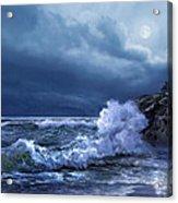 Boston Harbor Lighthouse Moonlight Scene Acrylic Print