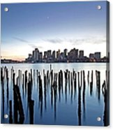 Boston Harbor Skyline With Ica Acrylic Print by Juergen Roth