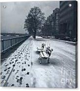 Boston Longfellow Bridge-snow Cityscape V2 Acrylic Print