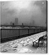Boston Longfellow Bridge-snow Cityscape V3 Acrylic Print