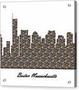 Boston Massachusetts 3d Stone Wall Skyline Acrylic Print