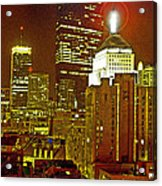 Boston Massachusetts Night Scene Digital Art Acrylic Print