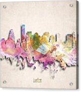 Boston Painted City Skyline Acrylic Print