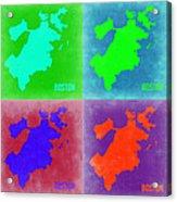 Boston Pop Art Map 2 Acrylic Print by Naxart Studio