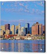Boston Skyline And Harbor, Massachusetts Acrylic Print