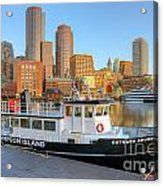 Boston Skyline And Thompson Island Ferry I Acrylic Print