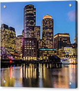 Boston Skyline At Sunset Acrylic Print
