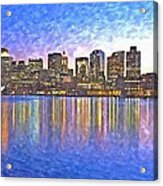 Boston Skyline By Night Acrylic Print