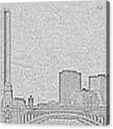 Boston Skyline Stencil Acrylic Print