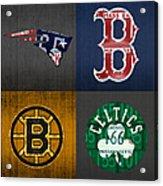 Boston Sports Fan Recycled Vintage Massachusetts License Plate Art Patriots Red Sox Bruins Celtics Acrylic Print