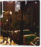 Brisk Walk On Hanover Street - Boston Acrylic Print