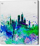 Boston Watercolor Skyline Acrylic Print