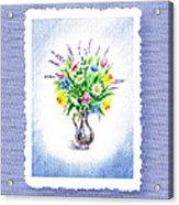 Botanical Impressionism Watercolor Bouquet Acrylic Print