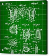 Bottle Cap Patent 1892 - Green Acrylic Print