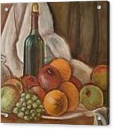 Bottle Of Bordeaux With Fruits Acrylic Print