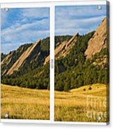 Boulder Colorado Flatirons White Window Frame Scenic View Acrylic Print