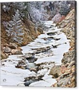 Boulder Creek Frosted Snowy Portrait View Acrylic Print