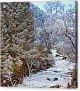 Boulder Creek Winter Wonderland Acrylic Print