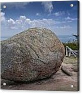 Boulder On Top Of Cadilac Mountain In Acadia National Park Acrylic Print
