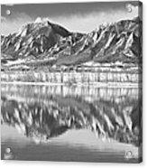 Boulder Reservoir Flatirons Reflections Boulder Co Bw Acrylic Print