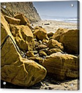 Boulders On The Beach At Torrey Pines State Beach Acrylic Print