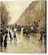 Boulevard Poissonniere In The Rain, C.1885 Oil On Canvas Acrylic Print