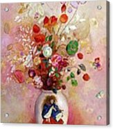 Bouquet Of Flowers In A Japanese Vase Acrylic Print by Odilon Redon