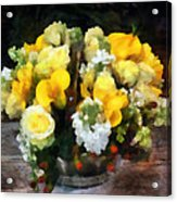 Bouquet With Roses And Calla Lilies Acrylic Print