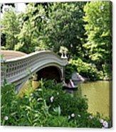 Bow Bridge And Rowboat Nyc Acrylic Print