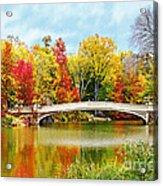 Bow Bridge Autumn In Central Park  Acrylic Print
