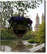 Bow Bridge Flowerpot And San Remo Nyc Acrylic Print