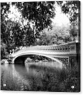Bow Bridge In Black And White Acrylic Print