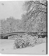 Bow Bridge In Central Park During Snowstorm Bw Acrylic Print