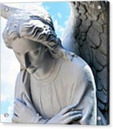 Bowing Male Angel With Blue Sky And Clouds Acrylic Print