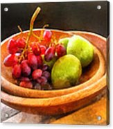 Bowl Of Red Grapes And Pears Acrylic Print by Susan Savad