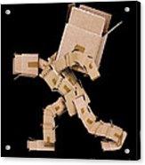 Box Character Carrying Large Box Acrylic Print