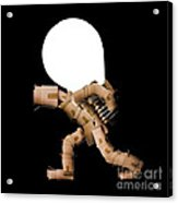 Box Character Carrying Light Bulb Acrylic Print