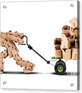 Box Character Moving Boxes On Trolley Acrylic Print