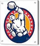 Boxer Boxing Punching Jabbing Retro Acrylic Print