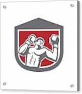 Boxer Punching Boxing Shield Retro Acrylic Print