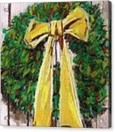 Boxwood Berries And Gold- Christmas Acrylic Print