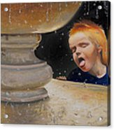 Boy At Fountain Of Youth Acrylic Print