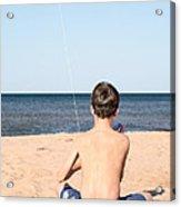 Boy At The Beach Flying A Kite Acrylic Print by Edward Fielding