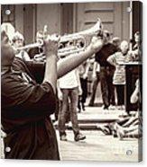 Boy On A Trumpet In Nola Acrylic Print