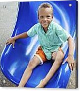 Boy On Slide Acrylic Print by Kicka Witte