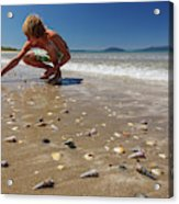 Boy Picking Seashells On The East Coast Acrylic Print