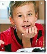 Boy Reading Book Portrait Acrylic Print