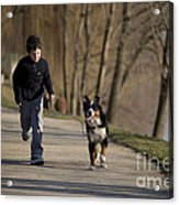 Boy Running With Dog Acrylic Print