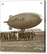 Boy Scouts And Goodyear Blimp Guarding Graf Zeppelin Los Angeles Airport Aug. 26 1929 Acrylic Print